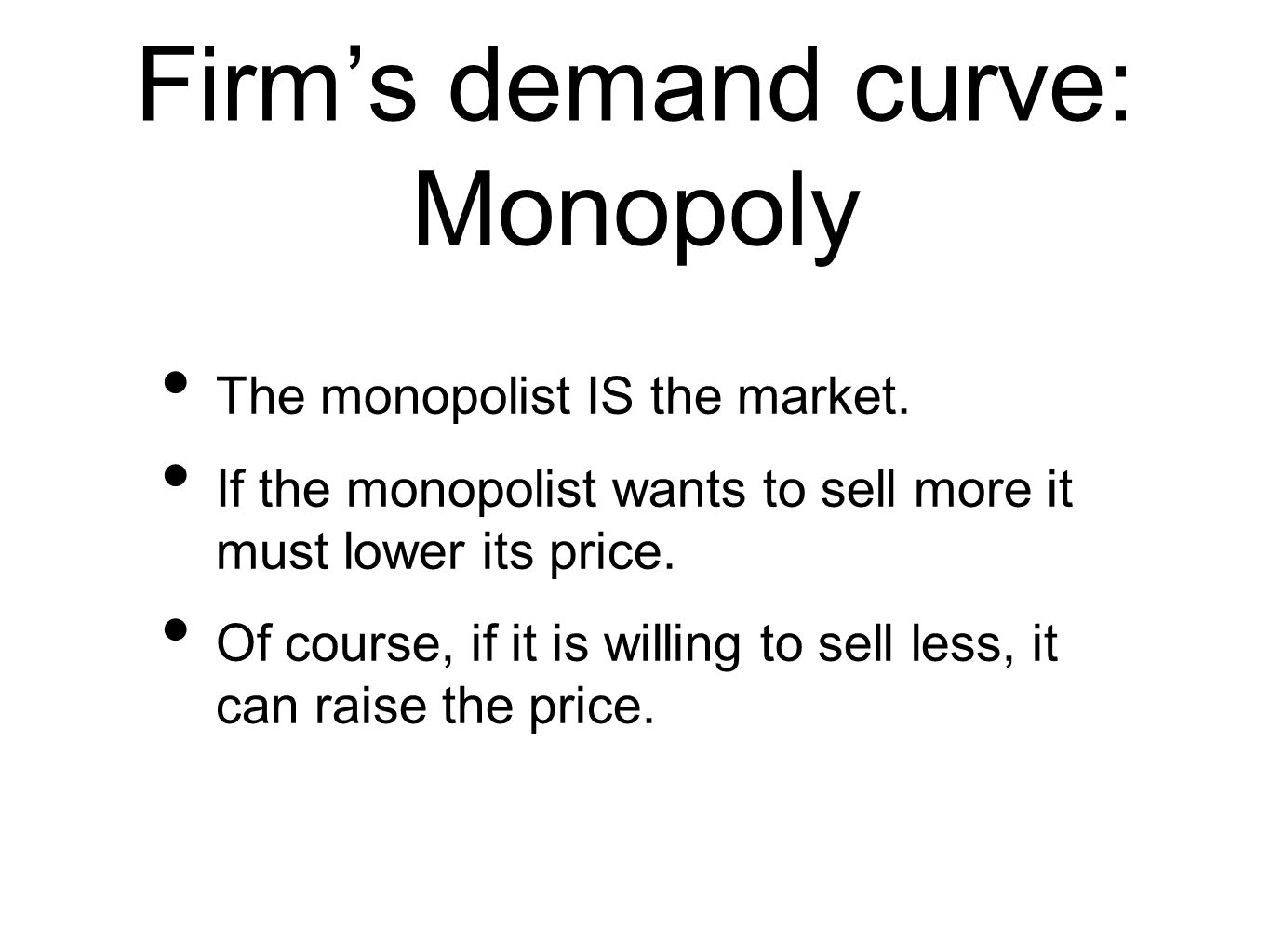 Firms demand curve: Monopoly The monopolist IS the market.