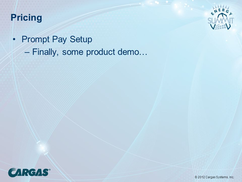 © 2012 Cargas Systems, Inc. Pricing Prompt Pay Setup –Finally, some product demo…