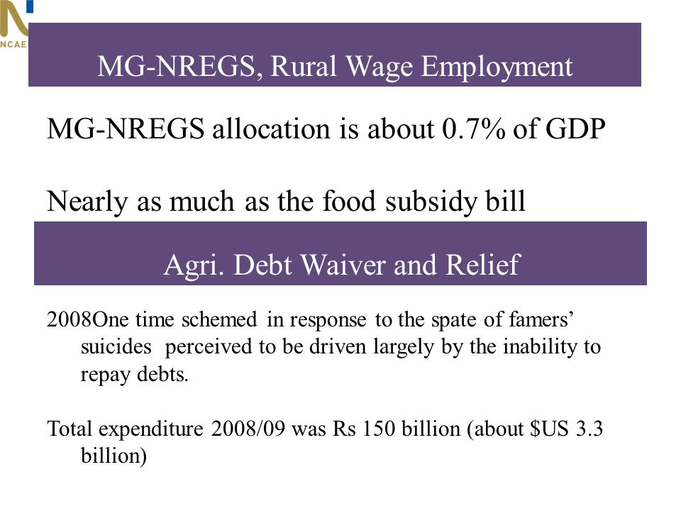 MG-NREGS allocation is about 0.7% of GDP Nearly as much as the food subsidy bill MG-NREGS, Rural Wage Employment 2008One time schemed in response to the spate of famers suicides perceived to be driven largely by the inability to repay debts.