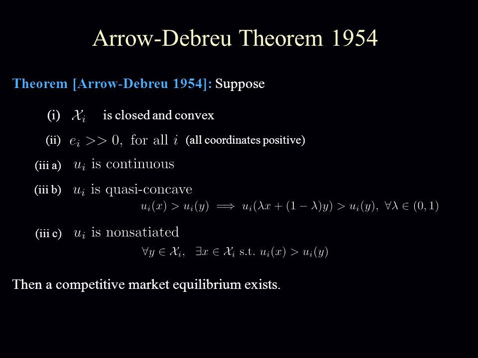 Arrow-Debreu Theorem 1954 Theorem [Arrow-Debreu 1954]: Suppose Then a competitive market equilibrium exists. (i) is closed and convex (iii a) (iii b)