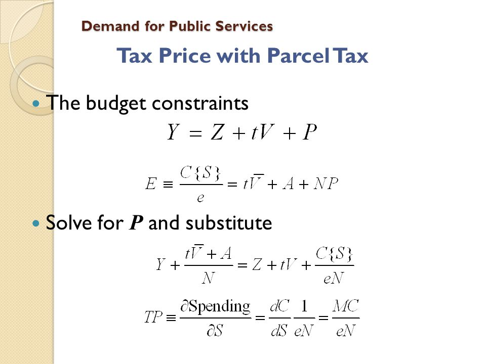 Demand for Public Services Tax Price with Parcel Tax The budget constraints Solve for P and substitute