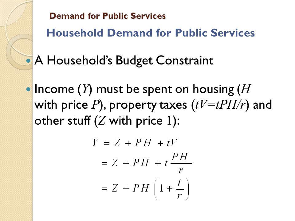 Demand for Public Services Common Error Most studies ignore e.