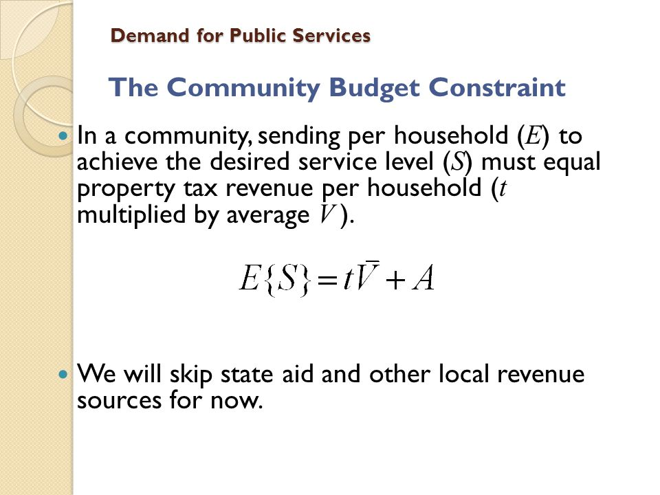 Demand for Public Services Massachusetts (Phuong/Yinger) Property tax limits with overrides No independent school districts, so actions may depend on costs of other services Observe 296 districts over 6 years Year dummies, but no fixed effects Service is measured with a state-defined Student Performance Index
