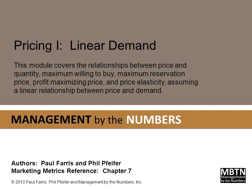 2 Linear Price-Quantity Functions L INEAR P RICE -Q UANTITY F UNCTIONS This presentation will focus on linear demand functions where the relationship between price and quantity is linear.