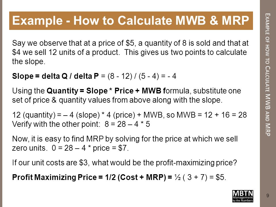 10 Finding Optimal Price with Regression F INDING O PTIMAL P RICE WITH R EGRESSION Then add to the cost ½ the difference between cost and MRP Suppose we apply regression to sales data, and find the following demand function where slope = -4 and MWB = 100: If the unit cost equals $5, what is the optimal price.