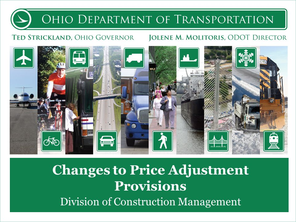 Changes to Price Adjustment Provisions Division of Construction Management