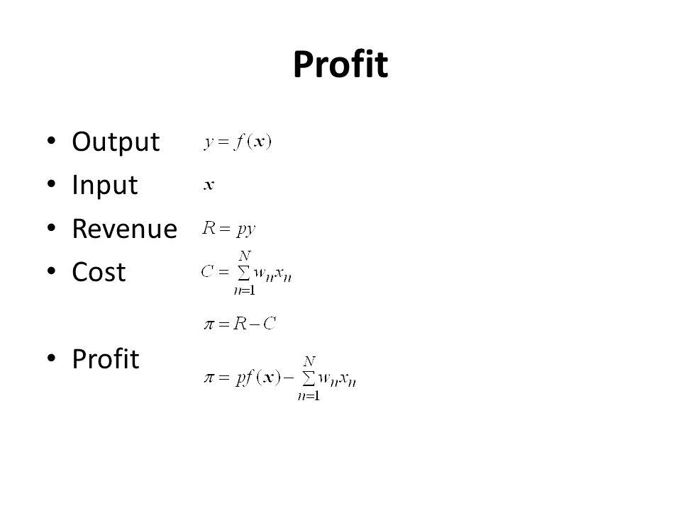 Profit Output Input Revenue Cost Profit