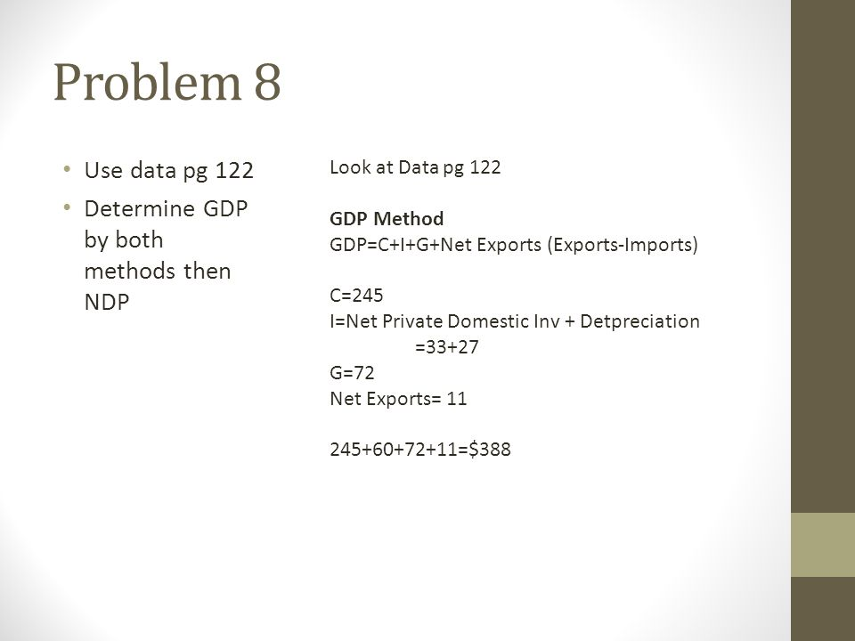 Problem 8 Use data pg 122 Determine GDP by both methods then NDP Look at Data pg 122 GDP Method GDP=C+I+G+Net Exports (Exports-Imports) C=245 I=Net Pr