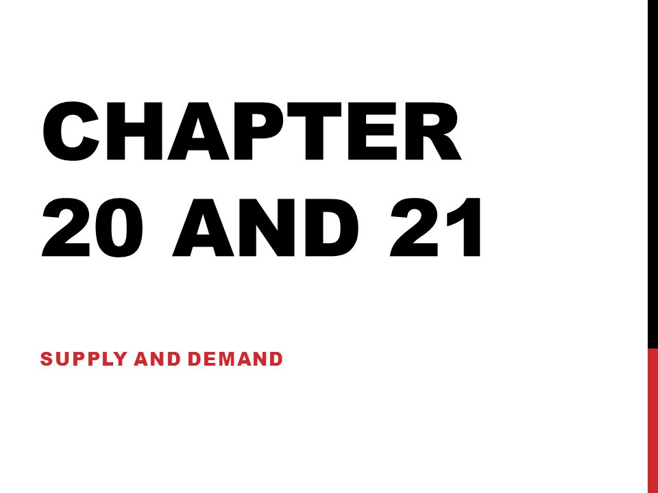 CHAPTER 20 AND 21 SUPPLY AND DEMAND