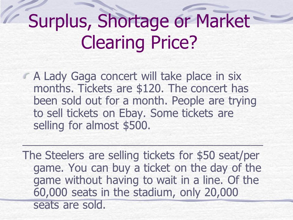 Surplus, Shortage or Market Clearing Price. A Lady Gaga concert will take place in six months.