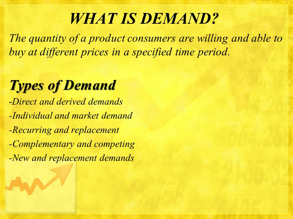 WHAT IS DEMAND? The quantity of a product consumers are willing and able to buy at different prices in a specified time period. Types of Demand - Dire