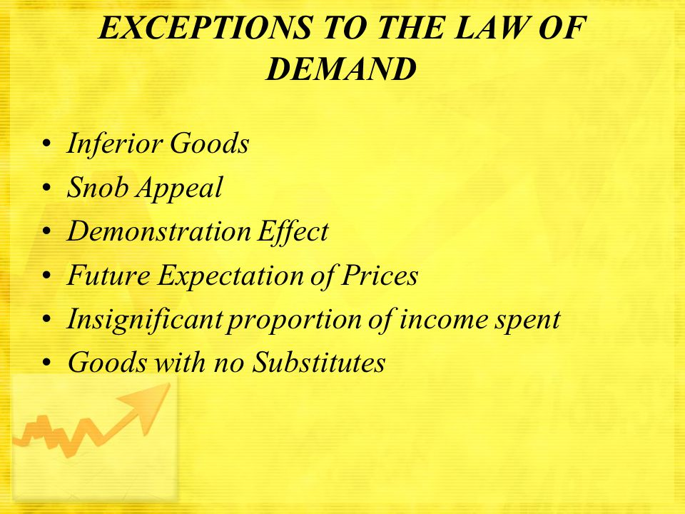 EXCEPTIONS TO THE LAW OF DEMAND Inferior Goods Snob Appeal Demonstration Effect Future Expectation of Prices Insignificant proportion of income spent