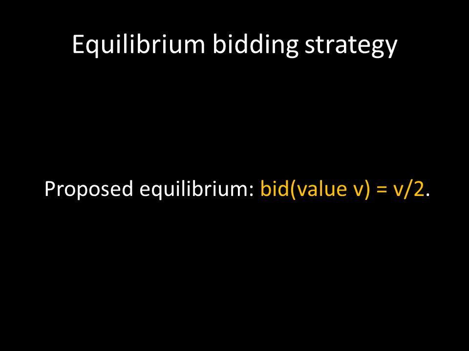 Equilibrium bidding strategy Proposed equilibrium: bid(value v) = v/2.