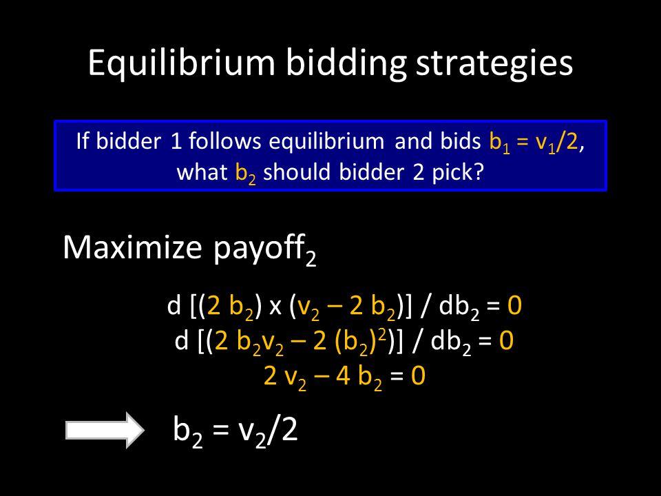 Equilibrium bidding strategies Maximize payoff 2 If bidder 1 follows equilibrium and bids b 1 = v 1 /2, what b 2 should bidder 2 pick? b 2 = v 2 /2 d