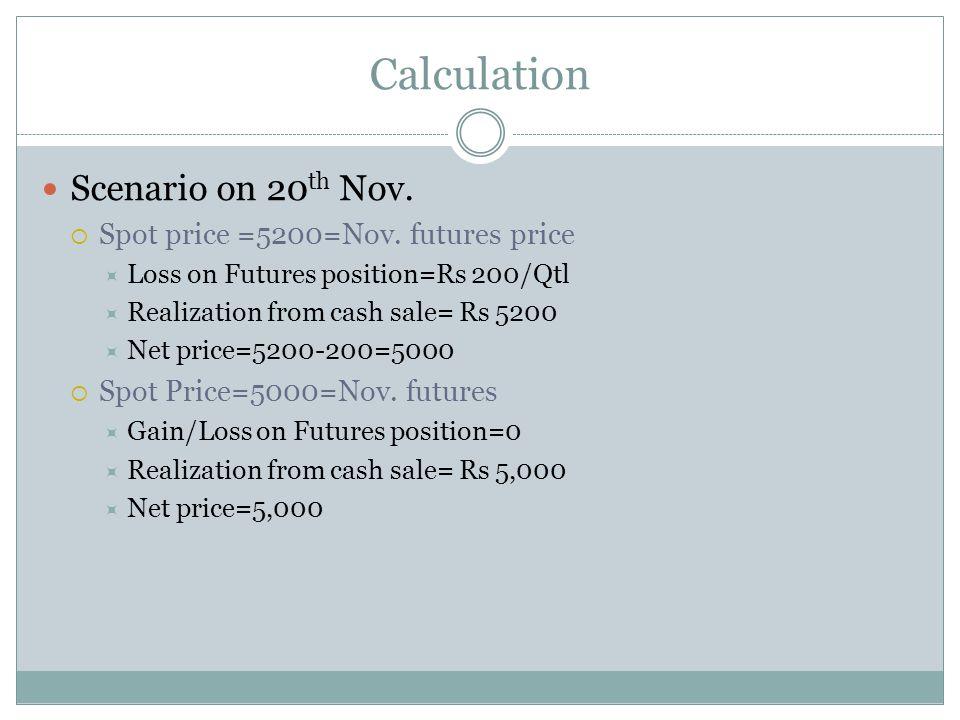 Calculation Scenario on 20 th Nov. Spot price =5200=Nov.