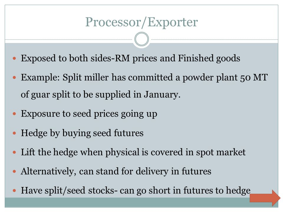 Processor/Exporter Exposed to both sides-RM prices and Finished goods Example: Split miller has committed a powder plant 50 MT of guar split to be supplied in January.