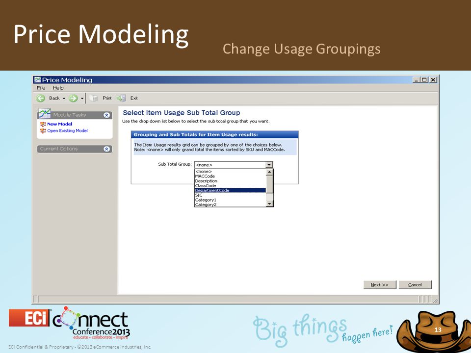 ECi Confidential & Proprietary - ©2013 eCommerce Industries, Inc. 13 Price Modeling Change Usage Groupings