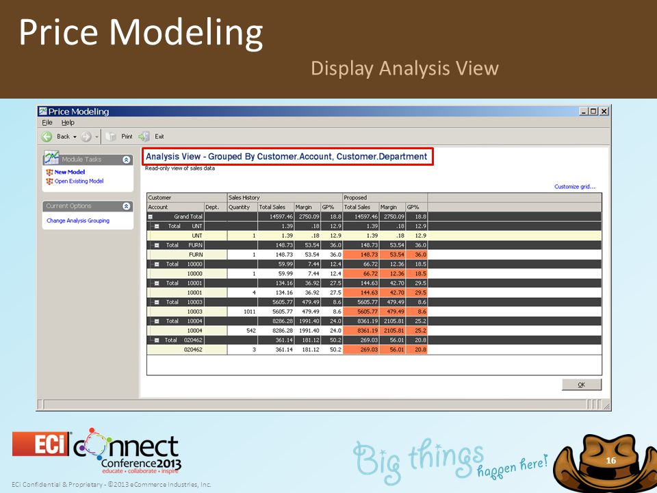 ECi Confidential & Proprietary - ©2013 eCommerce Industries, Inc. 16 Price Modeling Display Analysis View