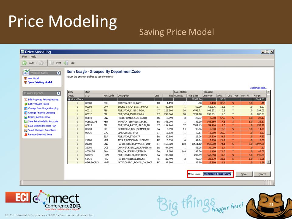 ECi Confidential & Proprietary - ©2013 eCommerce Industries, Inc. 21 Price Modeling Saving Price Model