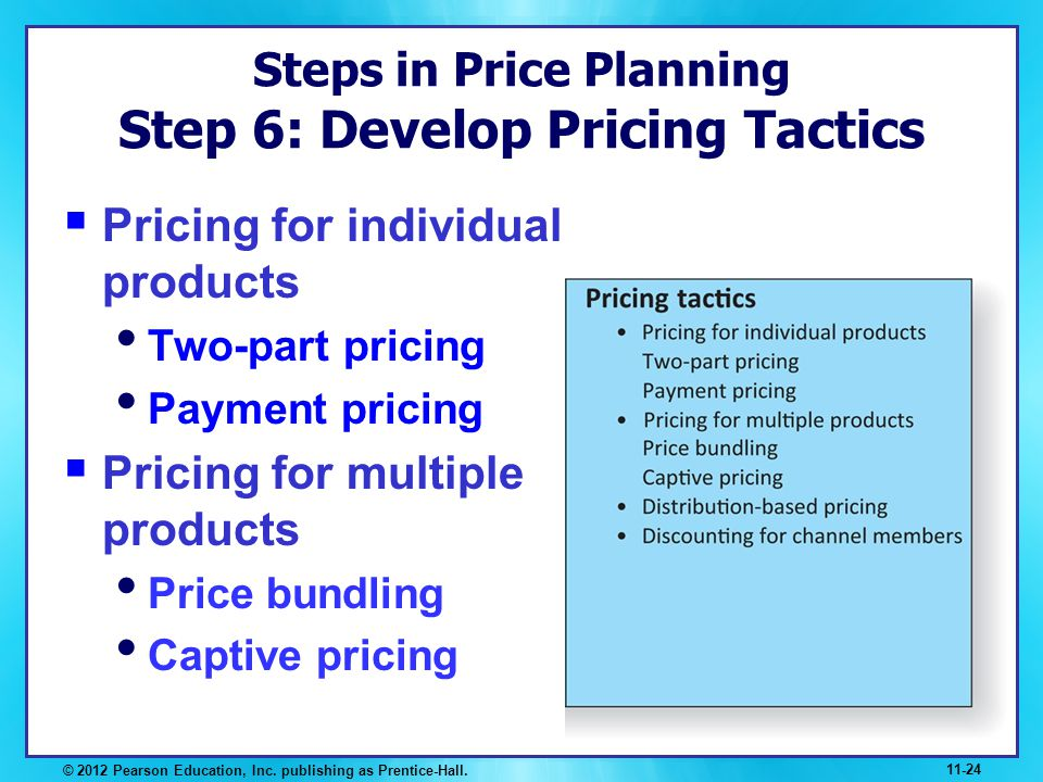 Steps in Price Planning Step 6: Develop Pricing Tactics Pricing for individual products Two-part pricing Payment pricing Pricing for multiple products