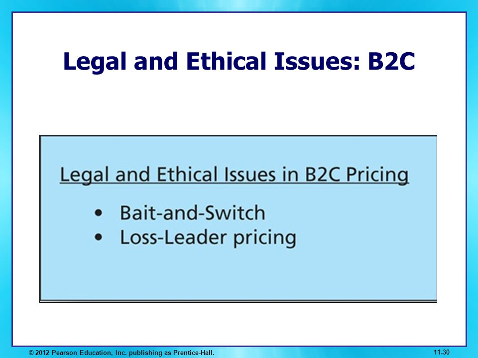 Legal and Ethical Issues: B2C © 2012 Pearson Education, Inc. publishing as Prentice-Hall. 11-30