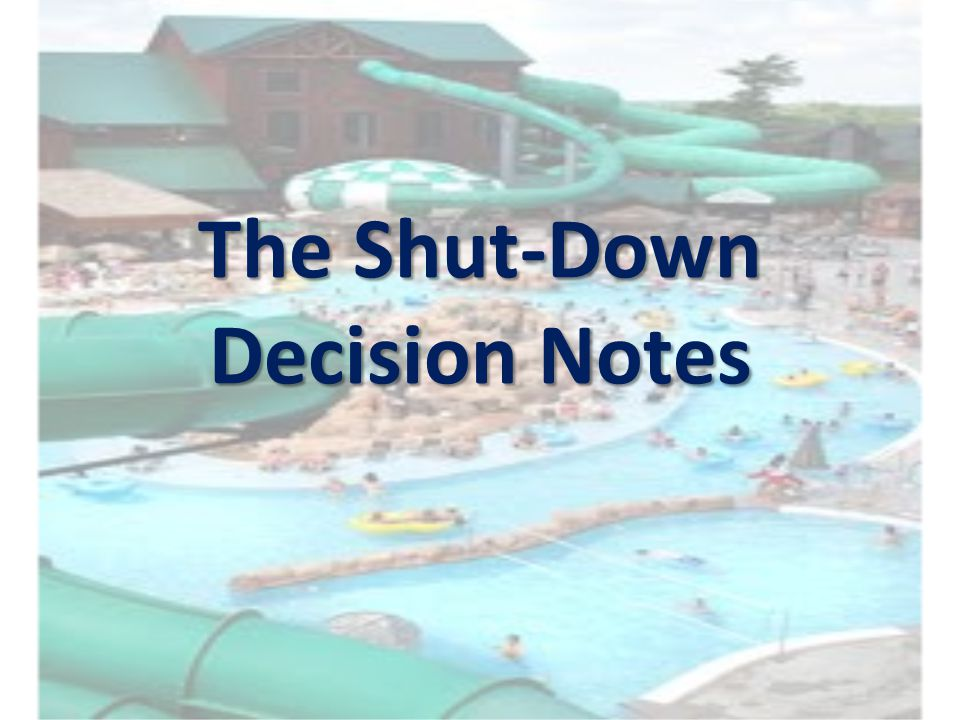 The Shut-Down Decision Notes