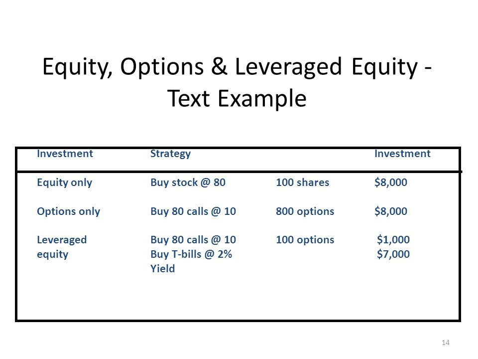 14 Equity, Options & Leveraged Equity - Text Example InvestmentStrategyInvestment Equity onlyBuy stock @ 80100 shares$8,000 Options onlyBuy 80 calls @