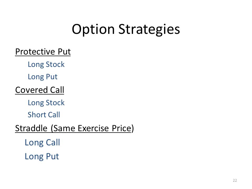 22 Option Strategies Protective Put Long Stock Long Put Covered Call Long Stock Short Call Straddle (Same Exercise Price) Long Call Long Put