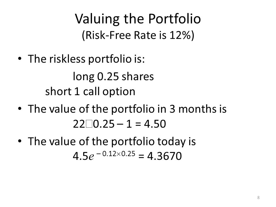 8 Valuing the Portfolio (Risk-Free Rate is 12%) The riskless portfolio is: long 0.25 shares short 1 call option The value of the portfolio in 3 months