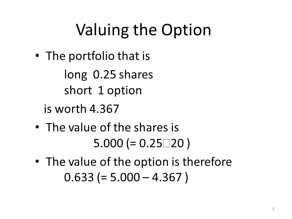 9 Valuing the Option The portfolio that is long 0.25 shares short 1 option is worth 4.367 The value of the shares is 5.000 (= 0.25 20 ) The value of t