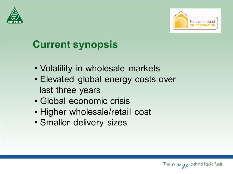Current synopsis Volatility in wholesale markets Elevated global energy costs over last three years Global economic crisis Higher wholesale/retail cost Smaller delivery sizes
