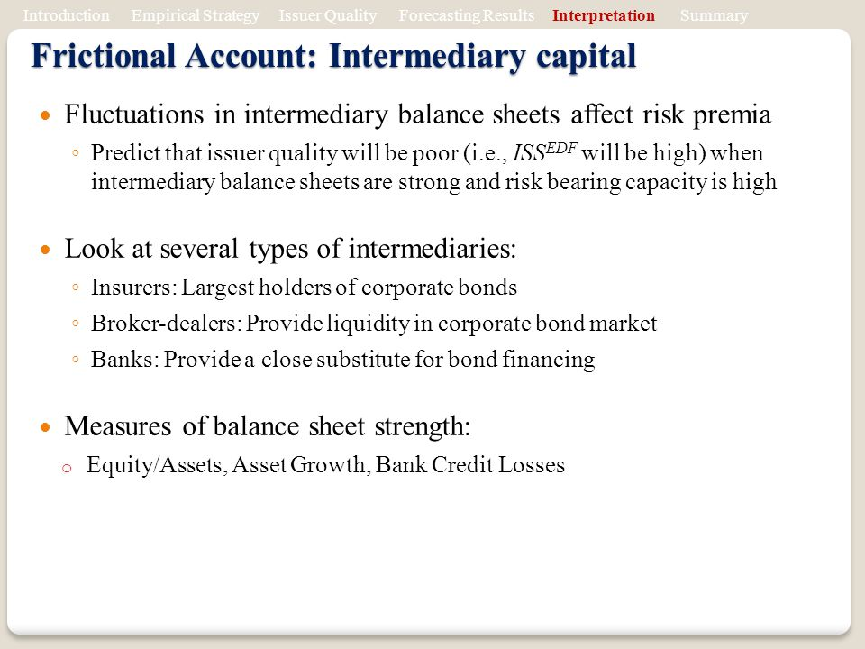 Frictional Account: Intermediary capital Fluctuations in intermediary balance sheets affect risk premia Predict that issuer quality will be poor (i.e., ISS EDF will be high) when intermediary balance sheets are strong and risk bearing capacity is high Look at several types of intermediaries: Insurers: Largest holders of corporate bonds Broker-dealers: Provide liquidity in corporate bond market Banks: Provide a close substitute for bond financing Measures of balance sheet strength: o Equity/Assets, Asset Growth, Bank Credit Losses Introduction Empirical Strategy Issuer Quality Forecasting Results Interpretation Summary