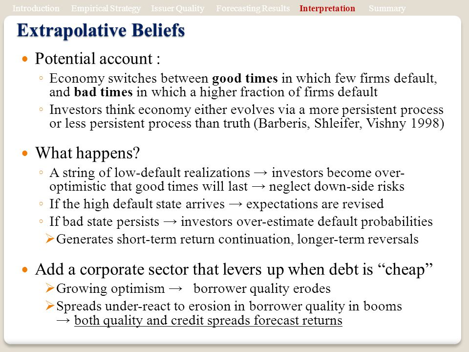 Extrapolative Beliefs Potential account : Economy switches between good times in which few firms default, and bad times in which a higher fraction of firms default Investors think economy either evolves via a more persistent process or less persistent process than truth (Barberis, Shleifer, Vishny 1998) What happens.