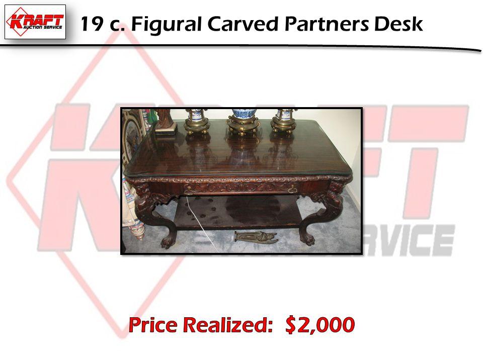 19 c. Figural Carved Partners Desk