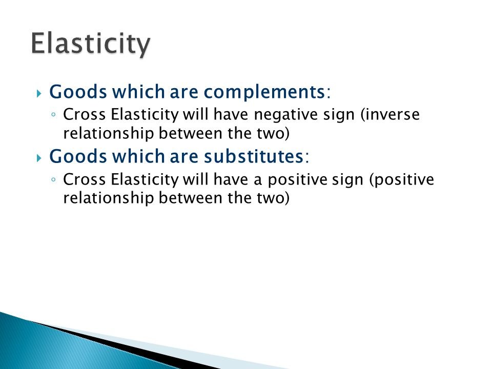 Goods which are complements: Cross Elasticity will have negative sign (inverse relationship between the two) Goods which are substitutes: Cross Elasti
