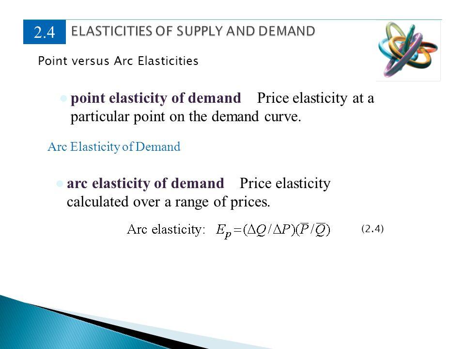 Point versus Arc Elasticities 2.4 point elasticity of demand Price elasticity at a particular point on the demand curve. arc elasticity of demand Pric