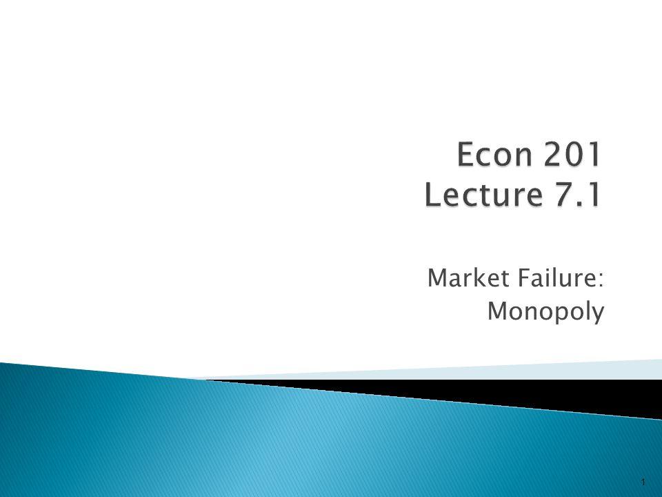Market Failure: Monopoly 1