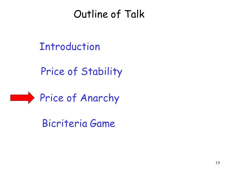 19 Introduction Price of Stability Price of Anarchy Outline of Talk Bicriteria Game