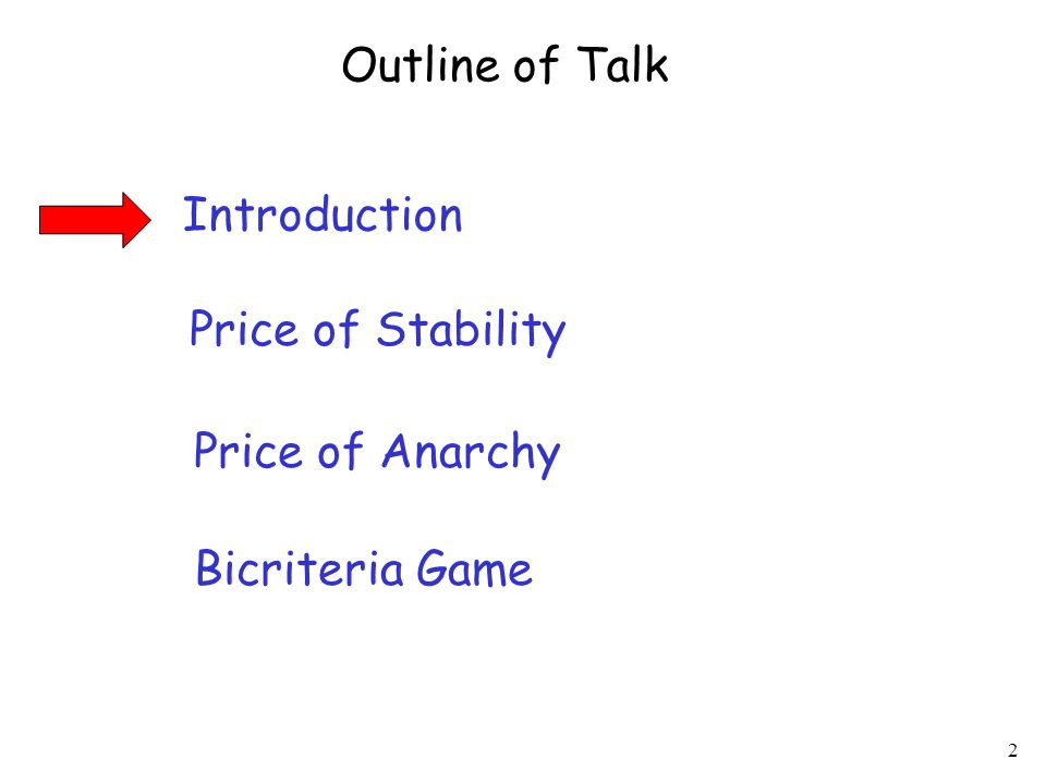 2 Introduction Price of Stability Price of Anarchy Outline of Talk Bicriteria Game