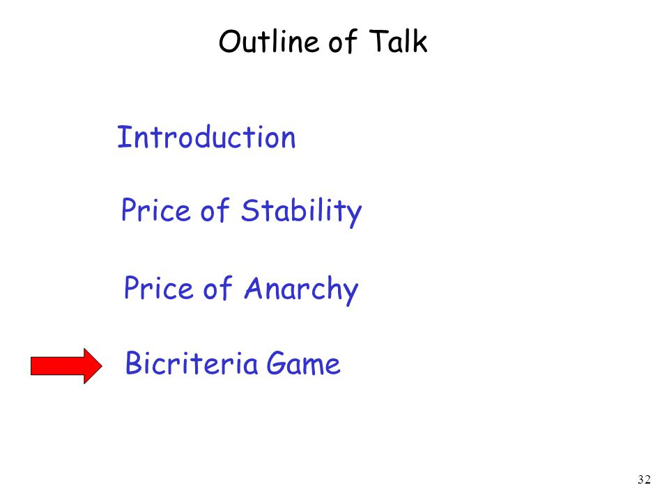 32 Introduction Price of Stability Price of Anarchy Outline of Talk Bicriteria Game