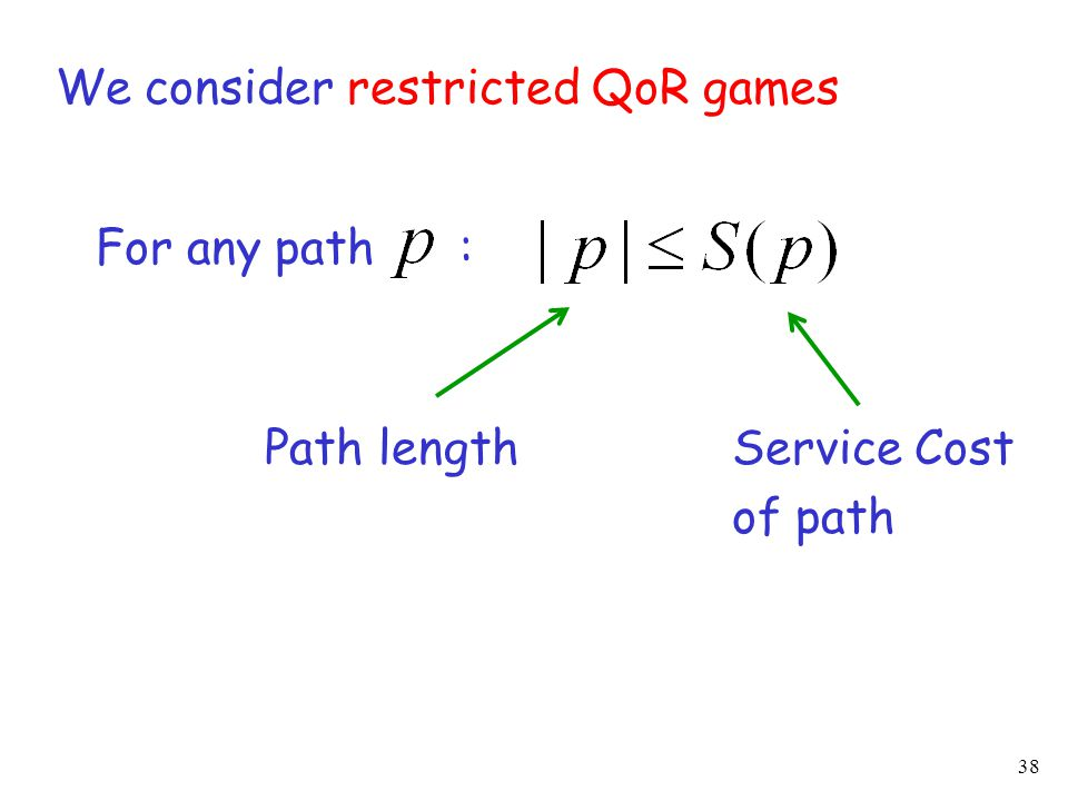 38 We consider restricted QoR games For any path : Path lengthService Cost of path