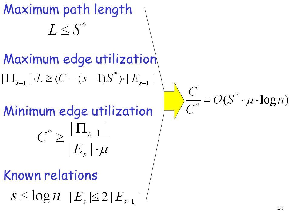 49 Maximum edge utilization Minimum edge utilization Maximum path length Known relations
