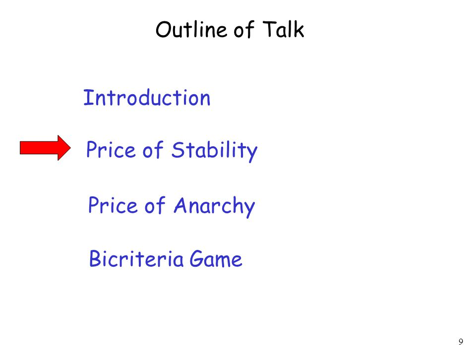 9 Introduction Price of Stability Price of Anarchy Outline of Talk Bicriteria Game