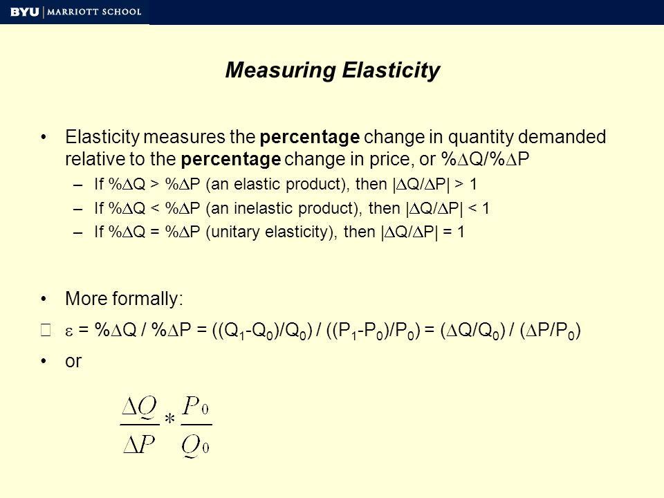 Measuring Elasticity QuantityPriceTotal Revenue 141141,974 137152,055 133162,128 129172,193 125182,250 121192,299 117202,340 113212,373 109222,398 105232,415 101242,424 97252,425 93262,418 89272,403 85282,380 81292,349 77302,310 73312,263 Ties What is the own price elasticity in moving from $18 to $15.