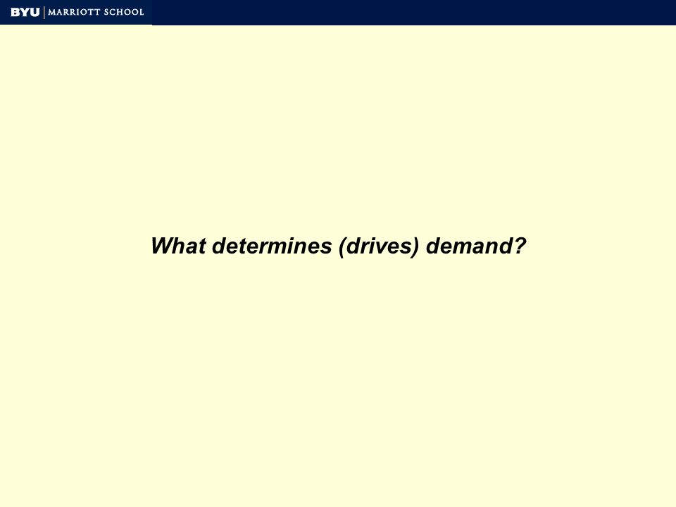 What determines (drives) demand?