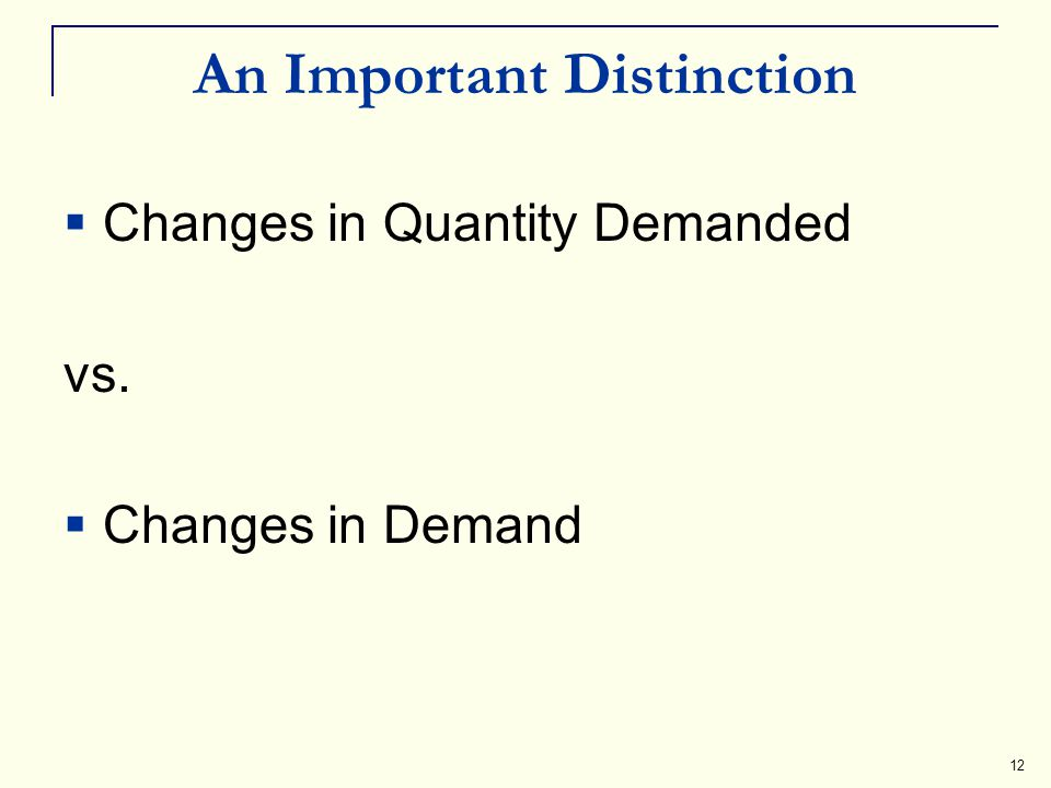 12 An Important Distinction Changes in Quantity Demanded vs. Changes in Demand