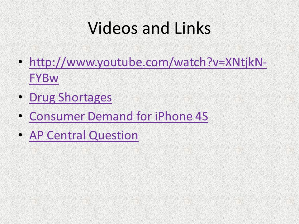 Videos and Links http://www.youtube.com/watch?v=XNtjkN- FYBw http://www.youtube.com/watch?v=XNtjkN- FYBw Drug Shortages Consumer Demand for iPhone 4S AP Central Question