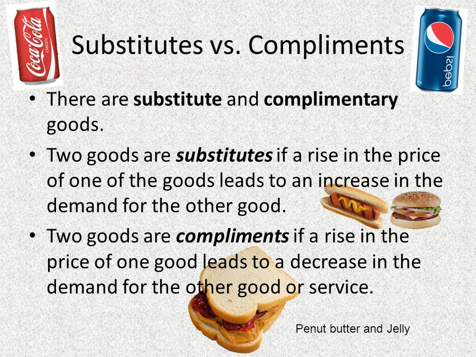 Substitutes vs.Compliments There are substitute and complimentary goods.