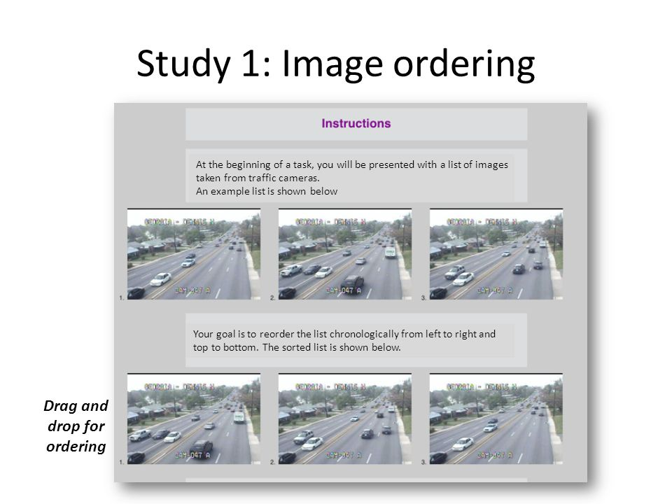 Study 1: Image ordering At the beginning of a task, you will be presented with a list of images taken from traffic cameras.