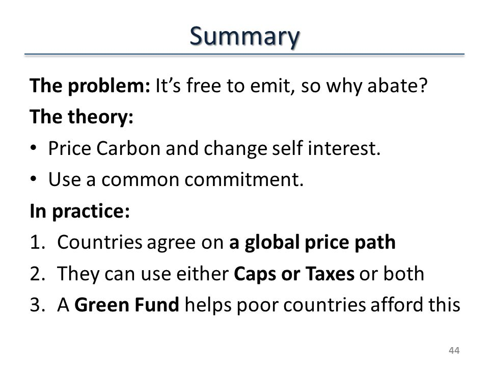 Summary The problem: Its free to emit, so why abate.